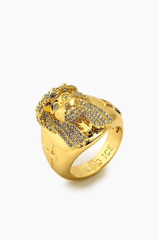 KING ICE Gold CZ Jesus Ring
