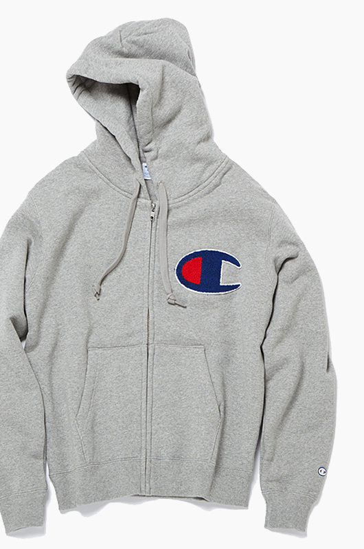 CHAMPION (JAPAN) Big Logo Zip-Up Hoodie(C3-E128) H.Grey