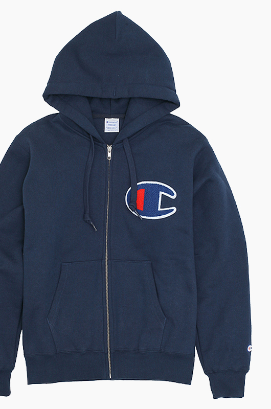 CHAMPION (JAPAN) Big Logo Zip-Up Hoodie(C3-E128) Navy