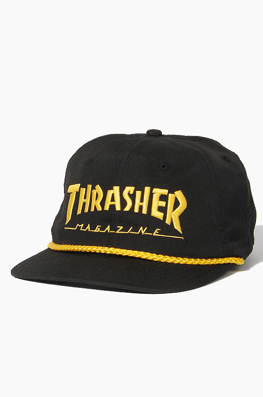 THRASHER Logo Rope Snapback Black