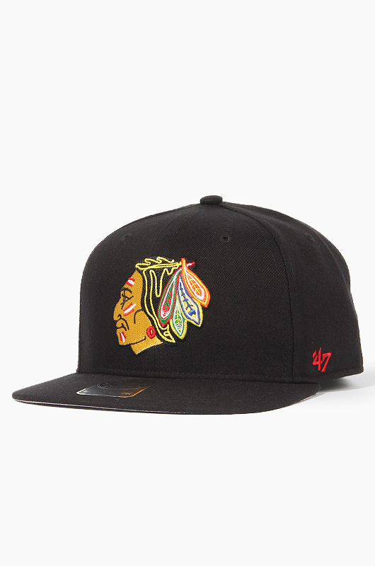 47BRAND MLB Sure Shot Snapback BlackHawks(Black)
