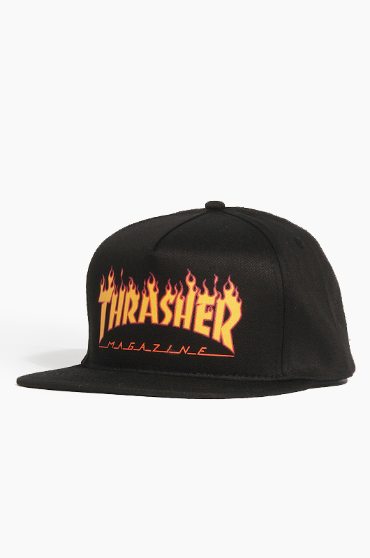THRASHER Flame Logo Structured Snap Black