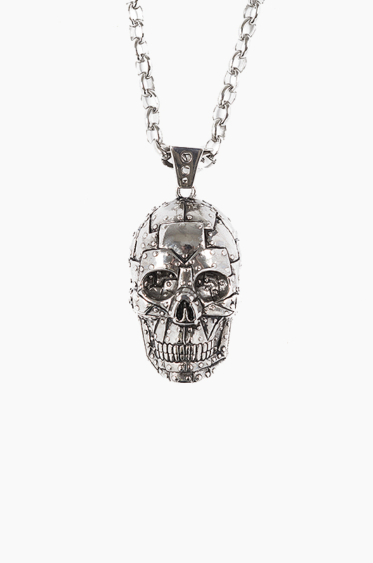HAN CHOLO Rivet Skull Necklace Silver Steel