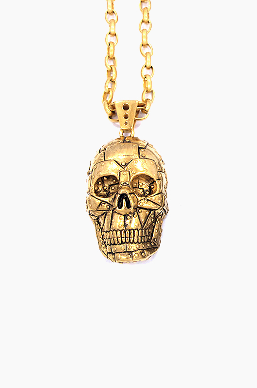 HAN CHOLO Rivet Skull Necklace Gold Steel