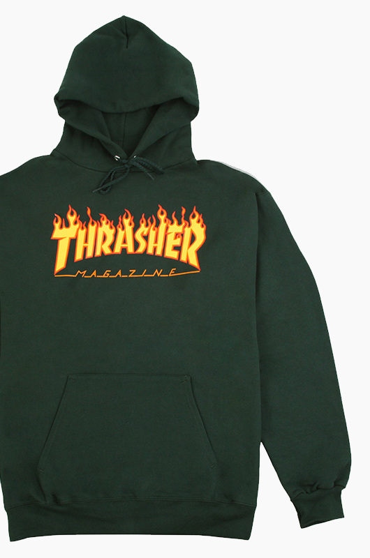 THRASHER Flame Logo Hood F.Green