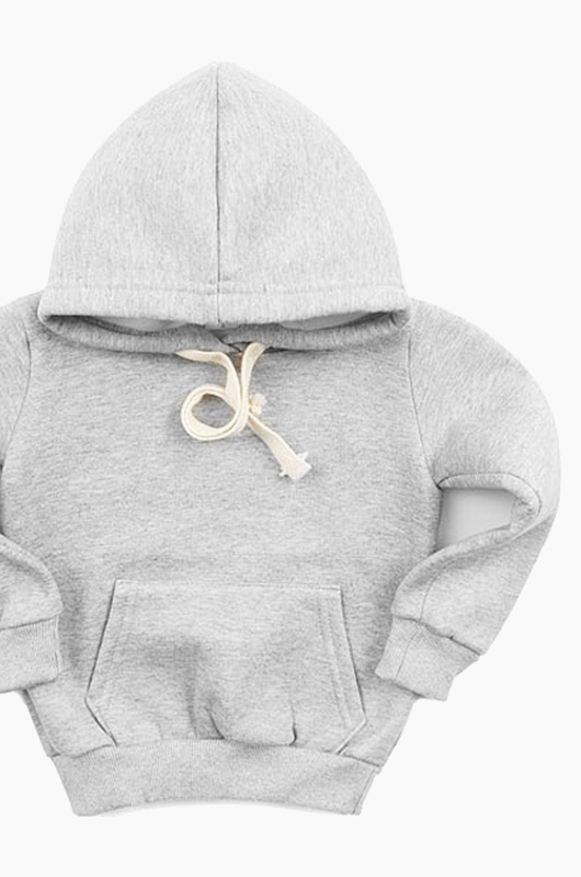 Plain Kids Hood Grey
