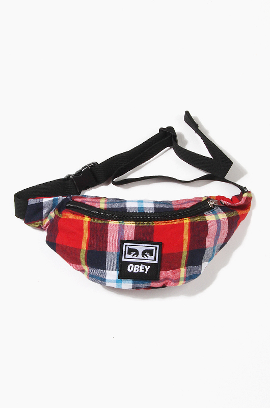 OBEY Wasted Hip Bag Red Plaid