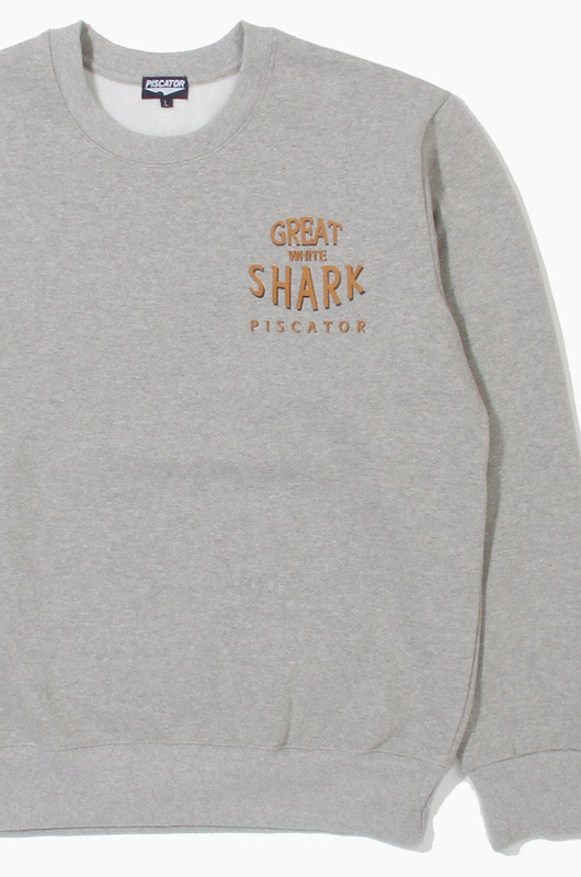 PISCATOR Great White Shark Crewneck Grey