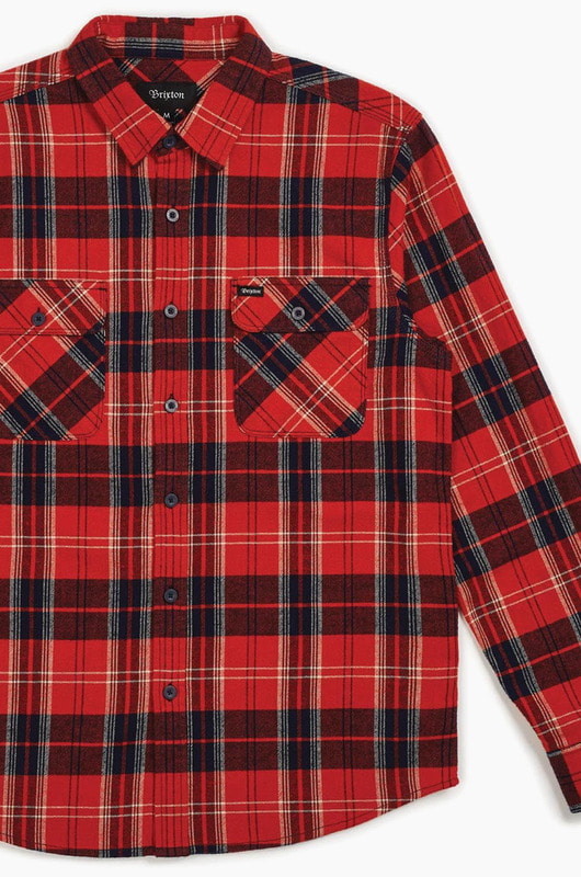 BRIXTON Bowery L/S Flannel Red/Navy