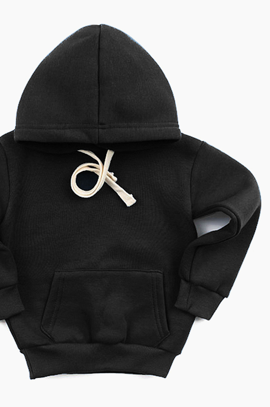 Plain Kids Hood Black