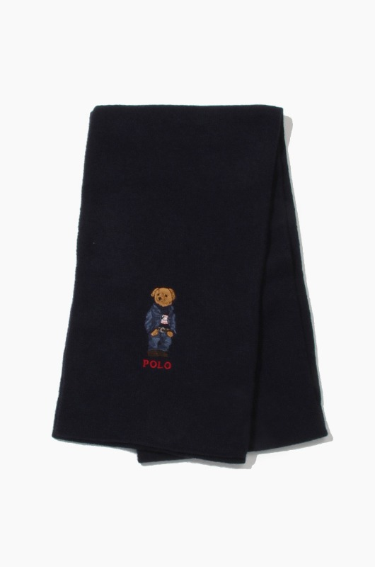POLO Jean Jacket Sweater Bear Scarf Navy