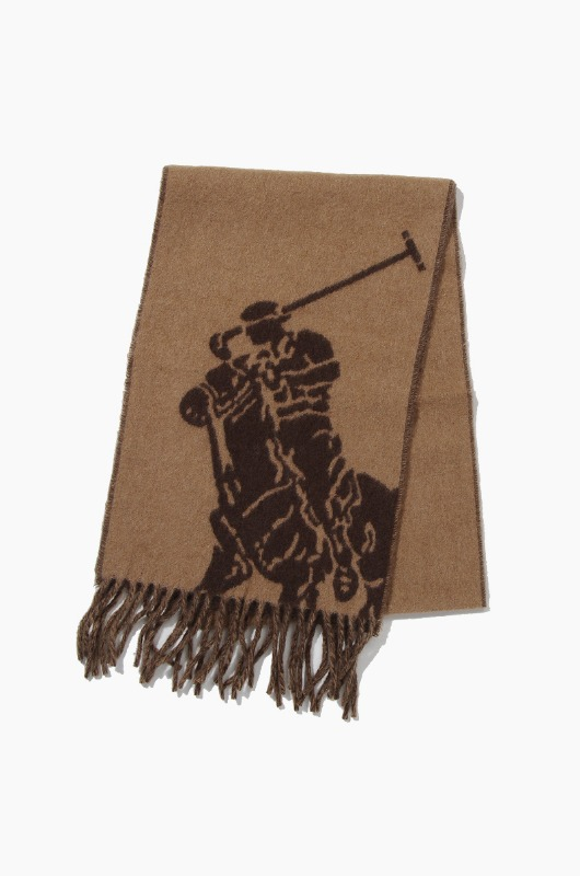 POLO Big Pony Jacquard Scarf Carmel/Brown