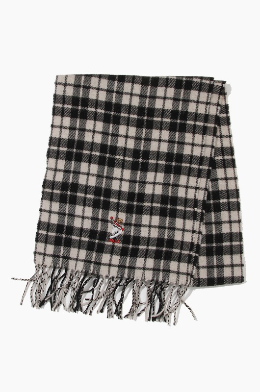 POLO Bear Embroidered Plaids Scarf Black/Cream Tartan