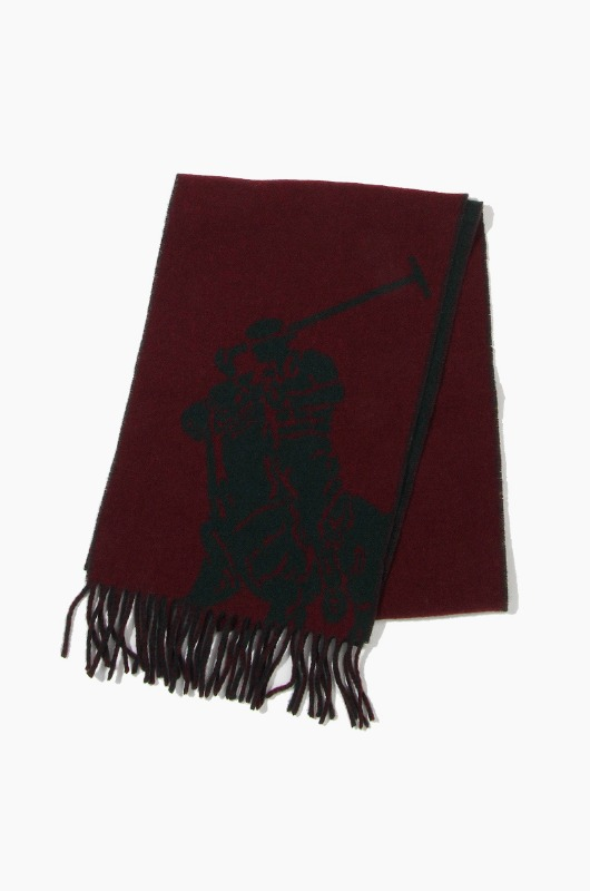 POLO Big Pony Jacquard Scarf Wine/Green