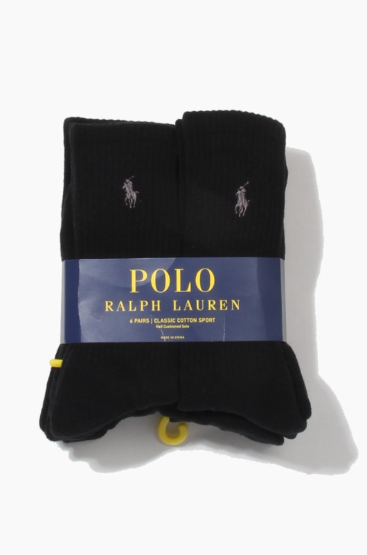 POLO classic cotton sports Socks 6pack Black/Charcoal