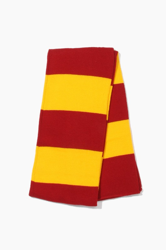 Plain Scarf Rugby Stripe Knit Scarf Cardinal/Gold