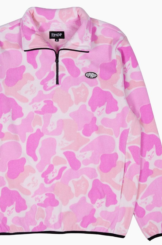 RIPNDIP Dizzy Fleece Half Zip Jacket Pink Camo