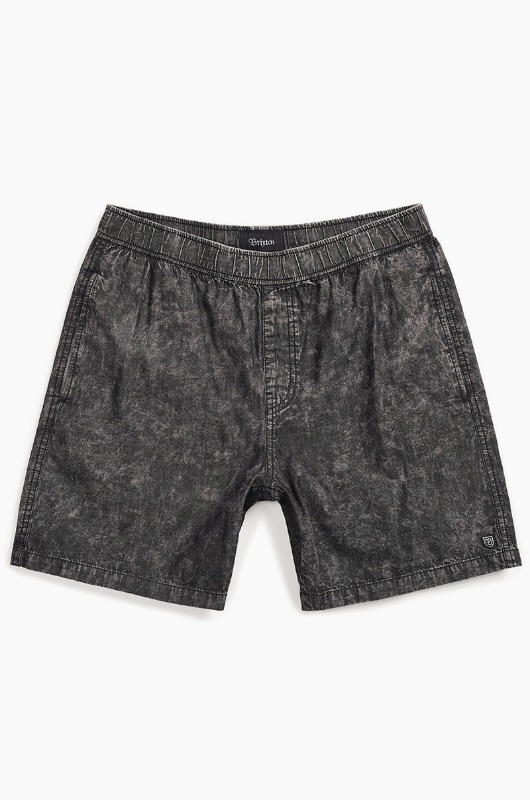 BRIXTON Steady Elastic WB Shorts Black Acid Wash