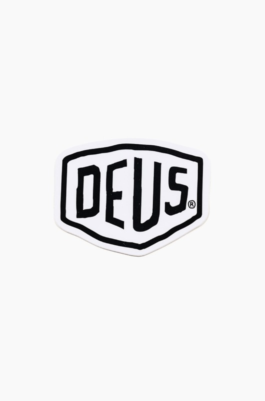 DEUS Vinyl Sticker Shield White
