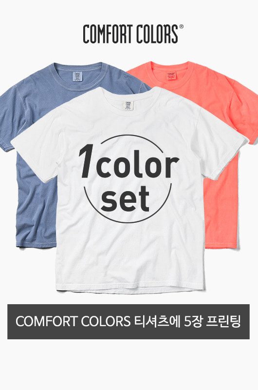 1Color Printing Set COMFORT COLORS 반팔티셔츠 5장