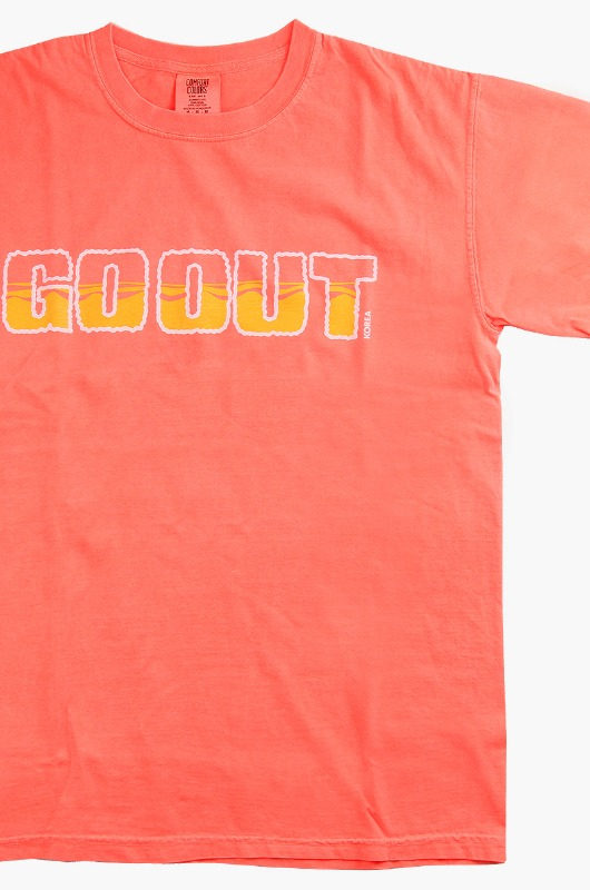 GO OUT Ocean Logo S/S Neon Red Orange