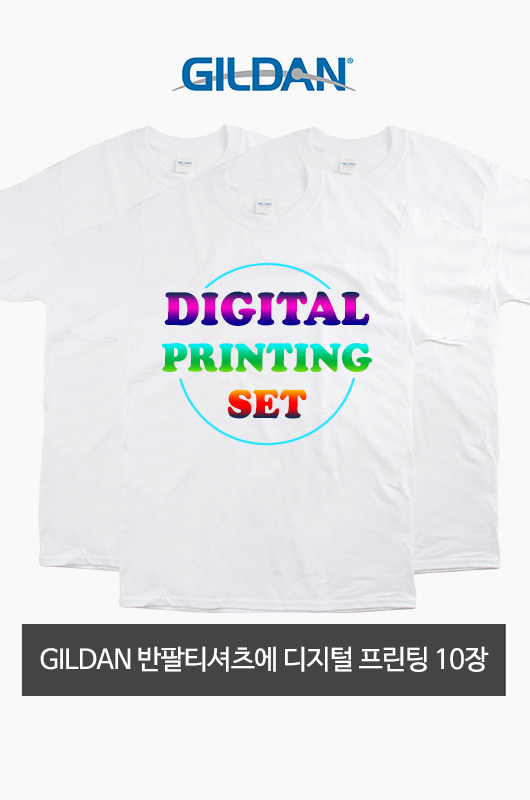 Digital Printing Set GILDAN 반팔 흰색 티셔츠 10장