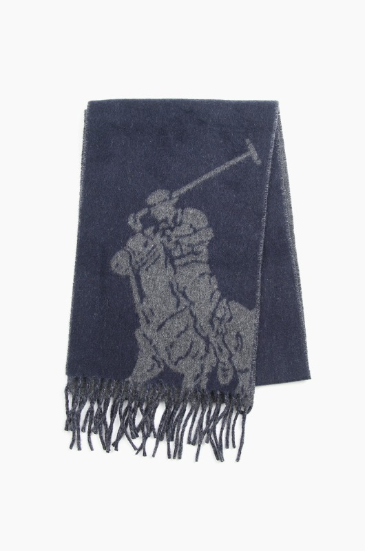 POLO Big Pony Jacquard Scarf Navy/Charcoal