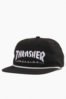 THRASHER Logo Rope Snapback Black/White