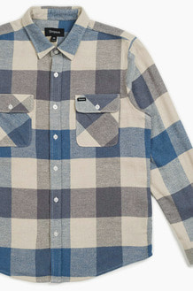 BRIXTON Bowery L/S Flannel Off White/Dusty Blue