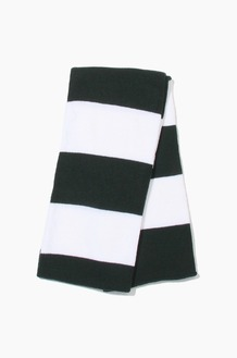 Plain Scarf Rugby Stripe Knit Scarf Forest/White