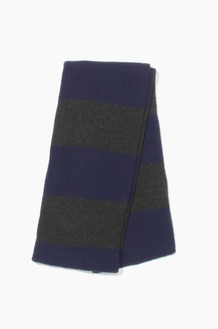 Plain Scarf Rugby Stripe Knit Scarf Navy/Charcoal