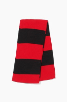 Plain Scarf Rugby Stripe Knit Scarf Red/Black