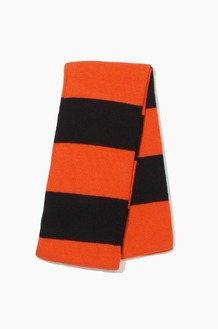 Plain Scarf Rugby Stripe Knit Scarf Orange/Black