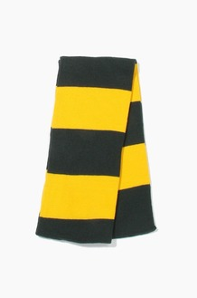 Plain Scarf Rugby Stripe Knit Scarf Forest/Gold