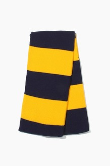 Plain Scarf Rugby Stripe Knit Scarf Navy/Gold